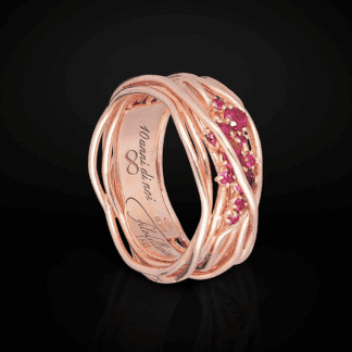 Anello 10 Fili in Argento Oro Rosa Rubini - Ten Collection - AN100RRB