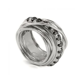 Anello 13 Fili in Argento con Diamanti Black - Carato Collection - AN001ABN