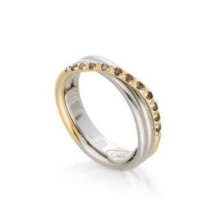 Anello 3 Fili in Oro Giallo e Argento con Diamanti Brown - Classic - AN8AGBR