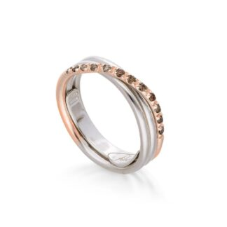 Anello 3 Fili in Oro Rosa e Argento con Diamanti Brown - Classic - AN8ARBR