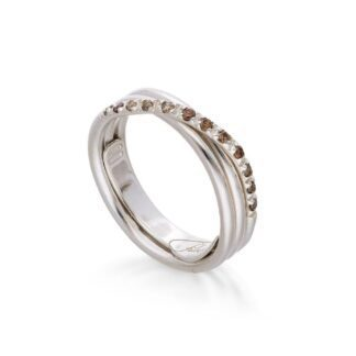 Anello 3 Fili in Oro Bianco con Diamanti Brown - Classic - AN8BBR